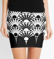 black and white art deco inspired fan pattern Mini Skirt