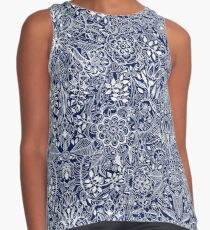 Detailed Floral Pattern in White on Navy Contrast Tank