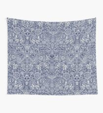 Detailed Floral Pattern in White on Navy Wall Tapestry