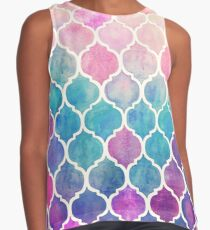 Rainbow Pastel Watercolor Moroccan Pattern Contrast Tank
