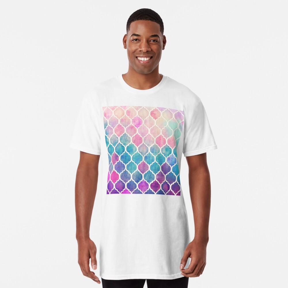 Rainbow Pastel Watercolor Moroccan Pattern Long T-Shirt