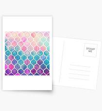 Rainbow Pastel Watercolor Moroccan Pattern Postcards