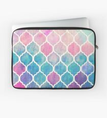 Rainbow Pastel Watercolor Moroccan Pattern Laptop Sleeve