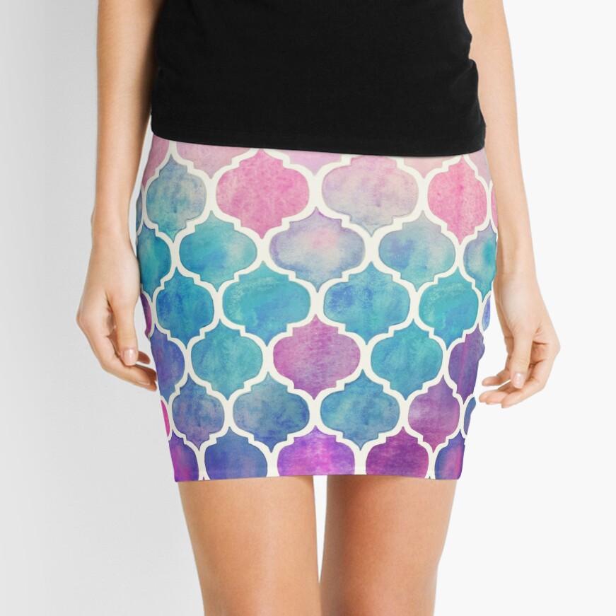 Rainbow Pastel Watercolor Moroccan Pattern Mini Skirt