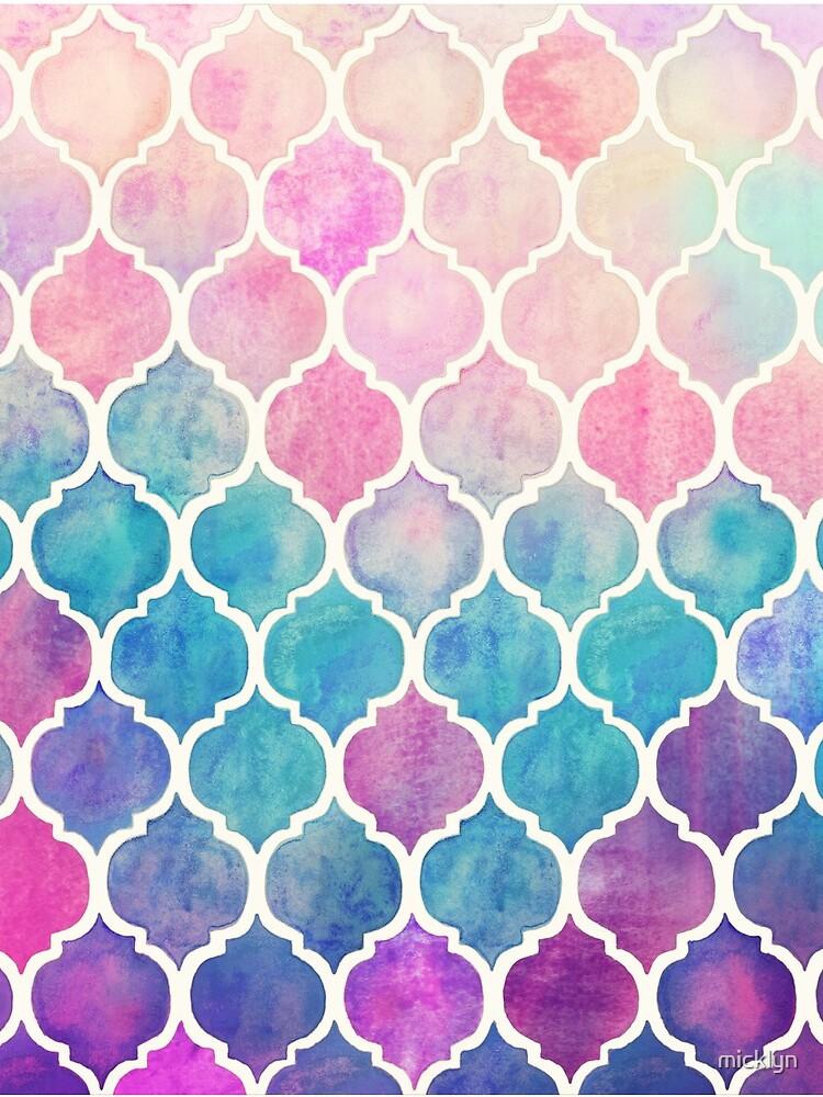 Regenbogen Pastell Aquarell marokkanischen Muster von micklyn