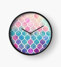 Rainbow Pastel Watercolor Moroccan Pattern Clock