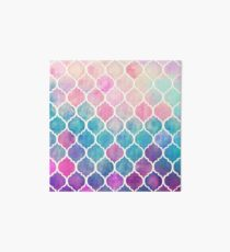 Rainbow Pastel Watercolor Moroccan Pattern Art Board