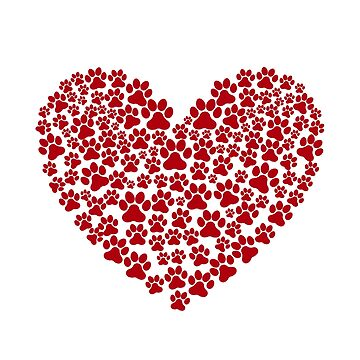 Dog - Dog Paw Print - Heart - Red by SterlingTales