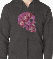 Flower Skull Pink Zipped Hoodie