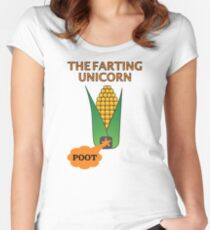 The Farting Unicorn - Tesla safe Women's Fitted Scoop T-Shirt