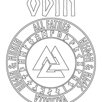 Odin Viking God Valknut with Runes by WarlordApparel