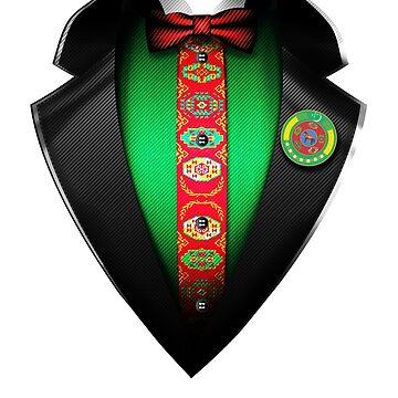 Turkmenistan Flag Turkmen Roots DNA and Heritage Tuxedo by nikolayjs