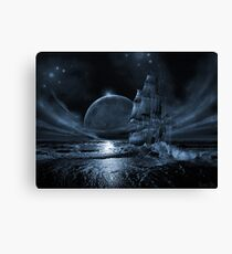 Ghost ship series: Full moon rising Canvas Print