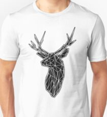 White Lines Stag Trophey Head Unisex T-Shirt