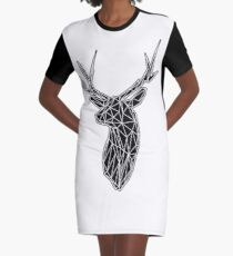 White Lines Stag Trophey Head Graphic T-Shirt Dress