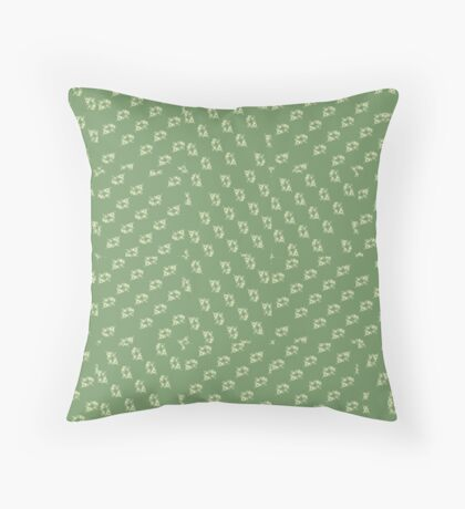 Canal flowers on pale green pattern Throw Pillow