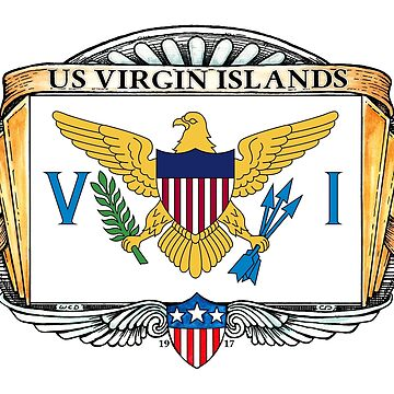 United States Virgin Islands Art Deco Design with Flag by Cleave