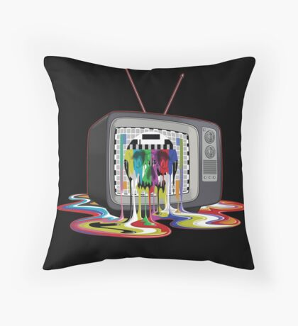 Television Melt of Death Throw Pillow