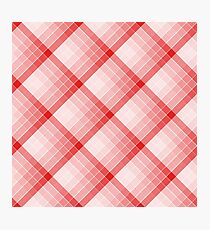 Red Geometric Squares Diagonal Check Tablecloth Photographic Print