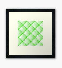 Green Geometric Squares Diagonal Check Tablecloth Framed Print