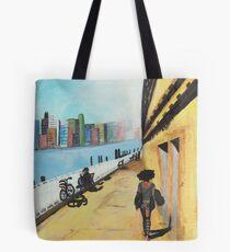 City Girl Walking Acrylic Print Tote Bag
