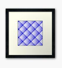 Navy Blue Geometric Squares Diagonal Check Tablecloth Framed Print
