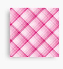 Pink Geometric Squares Diagonal Check Tablecloth Canvas Print