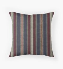 Navy Stripe Burgundy and Dark Blue Country Tapestry Throw Pillow
