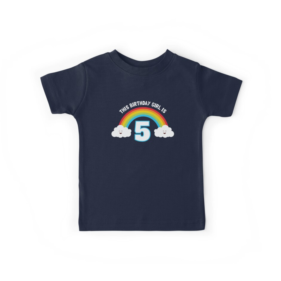 Cute Rainbow Happy 5th Birthday Shirt For Girls By HungryDino