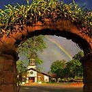Haleiwa Oahu  rainbow and Church by milton ginos