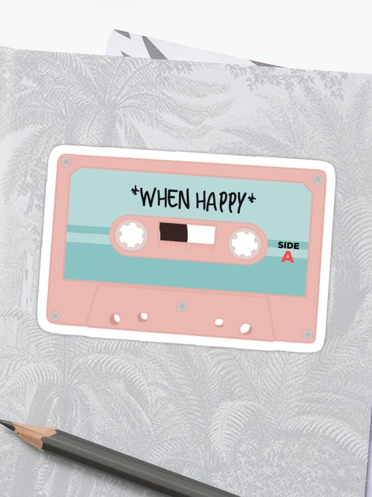 MUSIC WHEN HAPPY MIXTAPE CASSETTE   Sticker