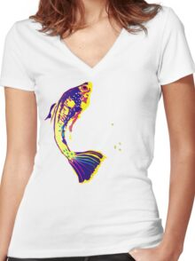 FISHY FOUR UP Women's Fitted V-Neck T-Shirt