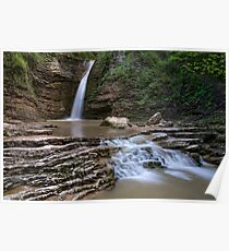waterfalls on a mountain river Poster
