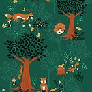 Foxes Playing in the Emerald Forest by latheandquill
