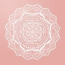 White Flower Mandala on Rose Gold by julieerindesign