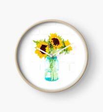 Sonnenblumen in einem Vintage Blue Mason Jar Uhr