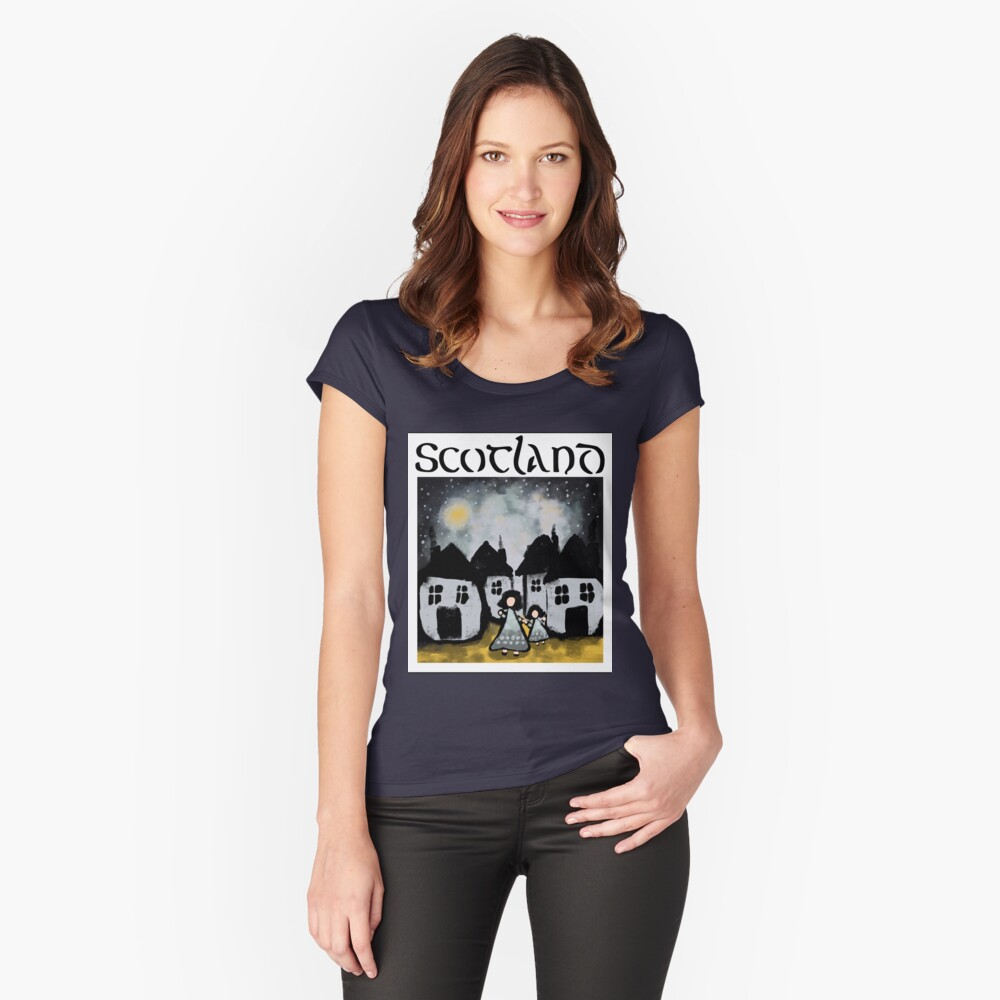 Scottish Girls Women's Fitted Scoop T-Shirt Front