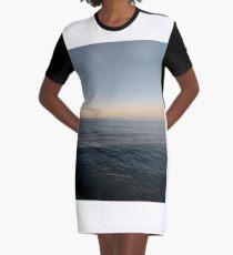 Sky, water, horizon, sea, ship, waves, island, glow, #Sky, #water, #horizon, #sea, #ship, #waves, #island, #glow Graphic T-Shirt Dress