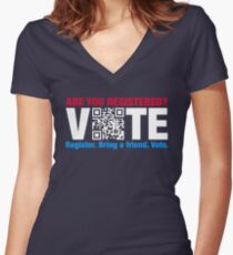 Vote QR Code Election Women's Fitted V-Neck T-Shirt