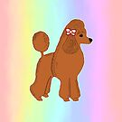 Red Poodle with Pastel Rainbow by Abigail Davidson