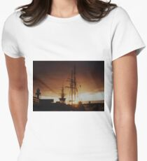 tall ship at sunset Women's Fitted T-Shirt