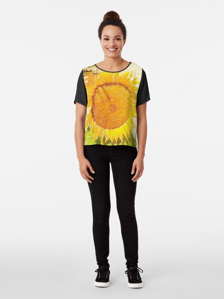 Alternate view of Sunflower in watercolor #2 Chiffon Top
