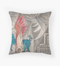 Spirit of the Indian sacrificed, and his dark blue dog.Walk. Throw Pillow