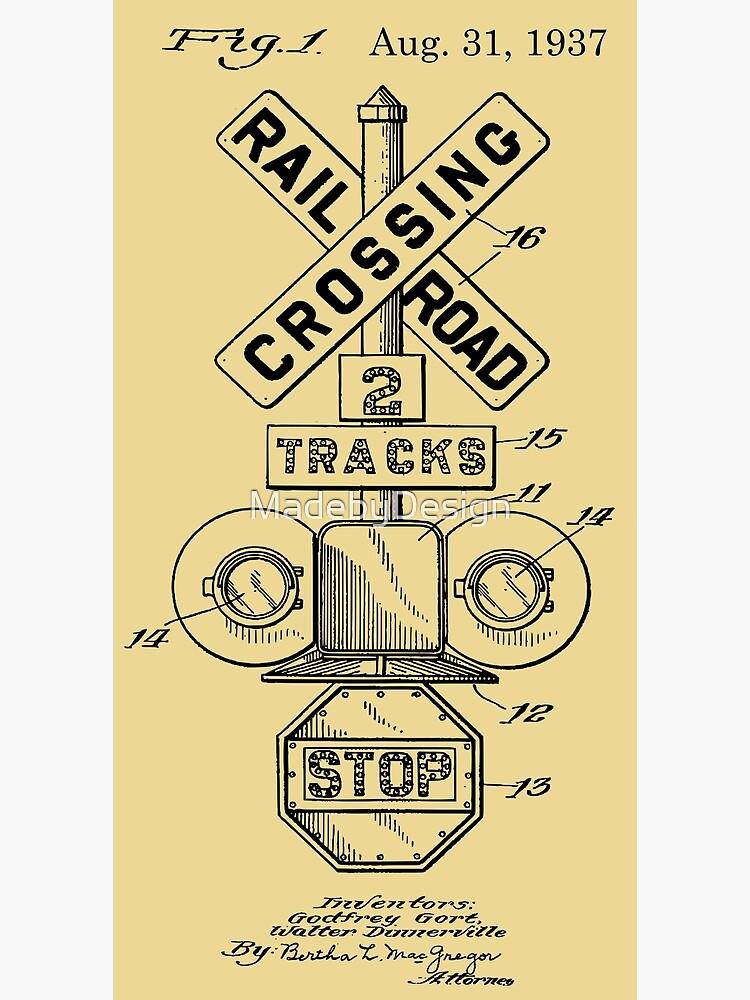Vintage Patent Print Railroad Crossing Signal Black | Photographic Print