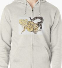 Ball Pythons Pencil Drawing Zipped Hoodie