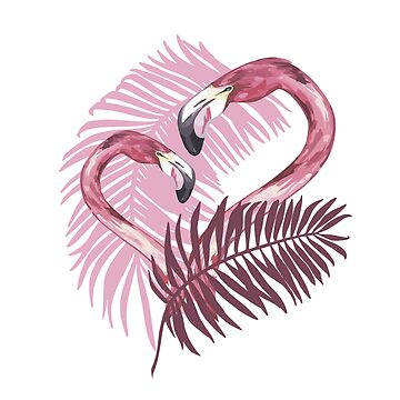 Summer illustration with flamingo by Asetrova