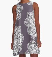 White Mural Mandala - Art&Deco By Natasha A-Line Dress