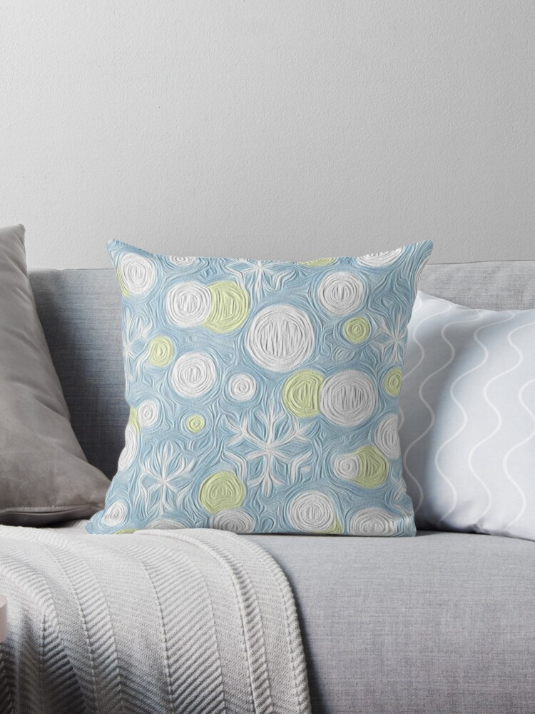 BLUE YELLOW AND WHITE WINTER SNOWFLAKES PATTERN FOR CHILDRENS DECOR  by ozcushionstoo