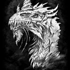 Dark Side Armored Dragon portrait on black with grunge texture | Graphite Pencil art digitally remastered by Tatiana Yamshanova