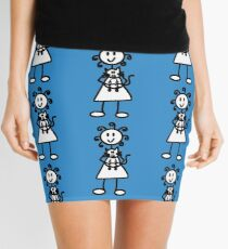 The Girl with the Curly Hair Holding Cat - Blue Mini Skirt